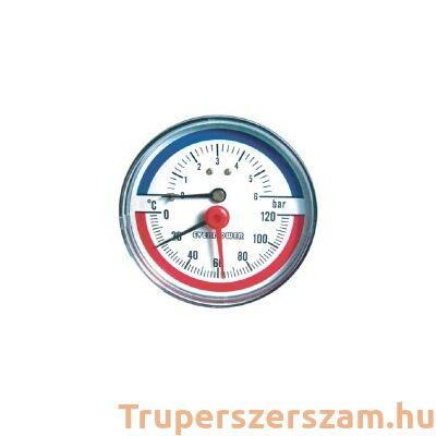 Hőmérséklet és nyomásmérő, alsó 6 bar visszacsapószeleppel