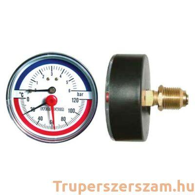 Hőmérséklet és nyomásmérő, hátsó 6 bar visszacsapószeleppel