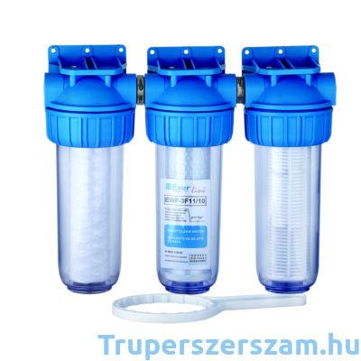 Tripla vízszűrő szénnel/pamuttal/szitával 3*1*10 col